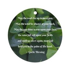 Shamrocks Gaelic Blessing Round Ornament
