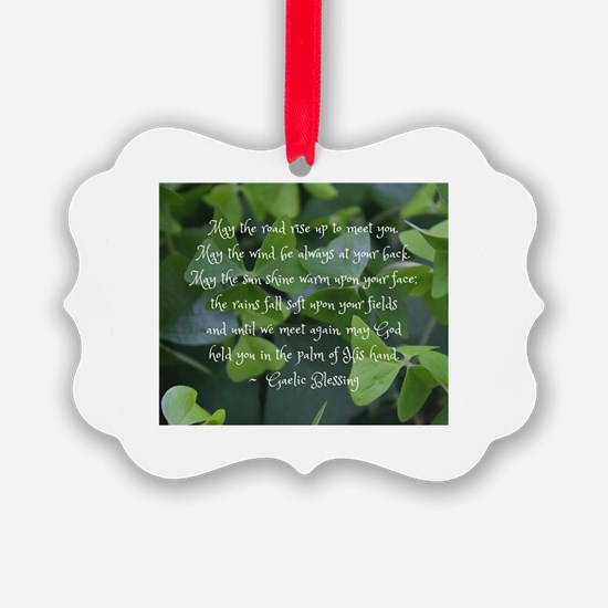 Shamrocks Gaelic Blessing Ornament