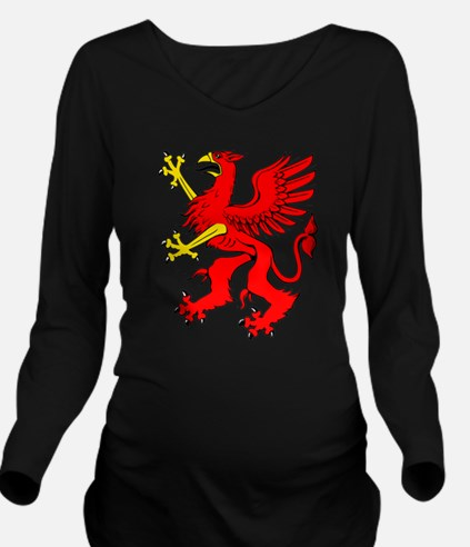 Red Griffin Long Sleeve Maternity T-Shirt