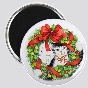 "2.25"" Christmas Cat Magnet"