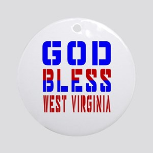 God Bless West Virginia Round Ornament