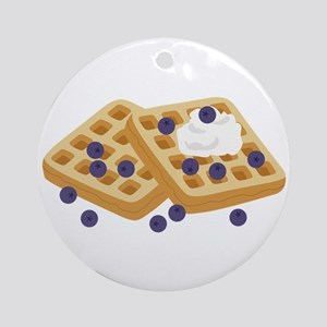 Blueberry Waffles Round Ornament