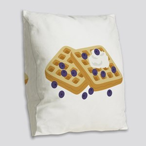 Blueberry Waffles Burlap Throw Pillow
