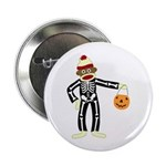 "Sock Monkey Halloween Skeleton 2.25"" Button"