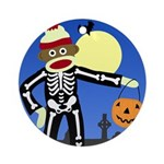 Sock Monkey Halloween Skeleton Ornament (Round)