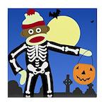 Sock Monkey Halloween Skeleton Tile Coaster