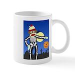 Sock Monkey Halloween Skeleton Coffee Mug