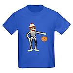 Sock Monkey Halloween Skeleton Kids Dark T-Shirt
