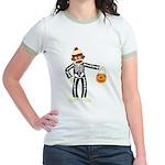 Sock Monkey Halloween Skeleton Jr. Ringer T-Shirt
