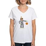 Sock Monkey Halloween Women's V-Neck T-Shirt