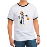 Sock Monkey Halloween Skeleton Ringer T-Shirt