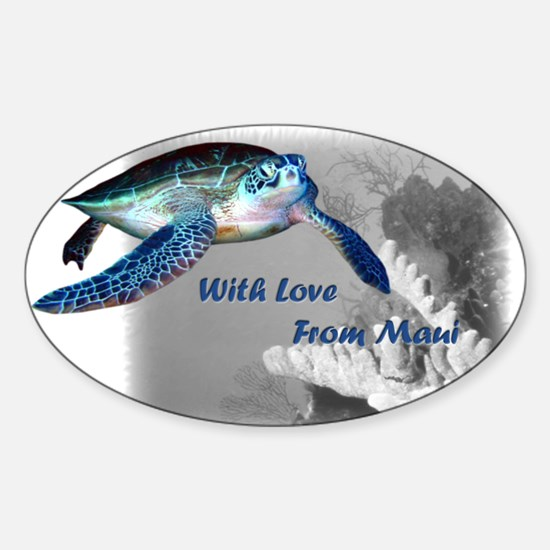 With Love From Maui Oval Decal