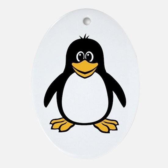 Funny Penguin Oval Ornament