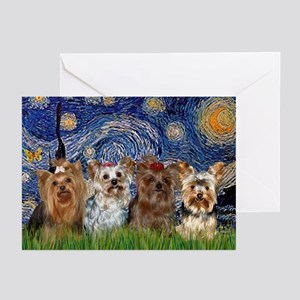 Starry Night & 4 Yorkies Greeting Cards (Package o
