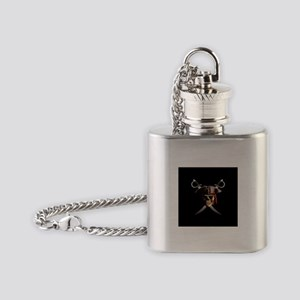 Pirate Skull And Swords Flask Necklace