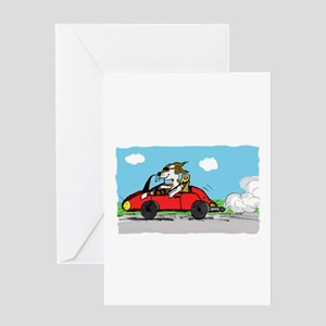 racing driver dog Greeting Cards