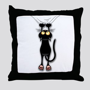 Fun Black Cat Falling Down Throw Pillow