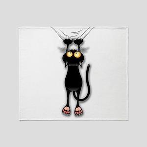 Fun Black Cat Falling Down Throw Blanket