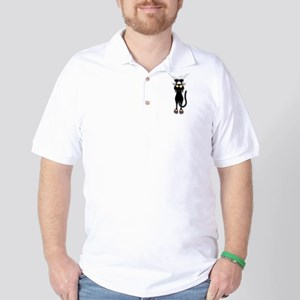Fun Black Cat Falling Down Golf Shirt
