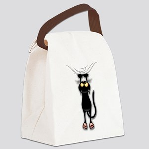 Fun Black Cat Falling Down Canvas Lunch Bag