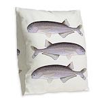 Baby Whale Fish Burlap Throw Pillow