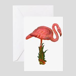 Vintage Pink Flamingo Greeting Card