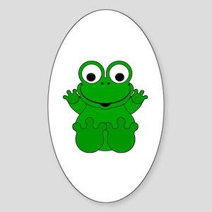 Cute Cartoon Frog Sticker (Oval)