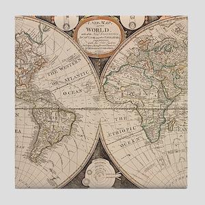 Vintage Map of The World (1799) 5 Tile Coaster