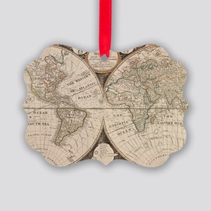 Vintage Map of The World (1799) 5 Picture Ornament