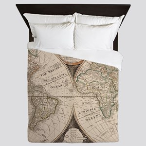 Vintage Map of The World (1799) 5 Queen Duvet