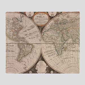 Vintage Map of The World (1799) 5 Throw Blanket