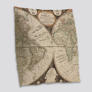 Vintage Map of The World (1799 Burlap Throw Pillow