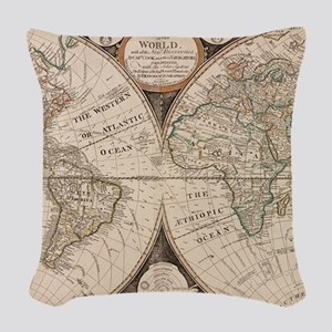 Vintage Map of The World (1799 Woven Throw Pillow