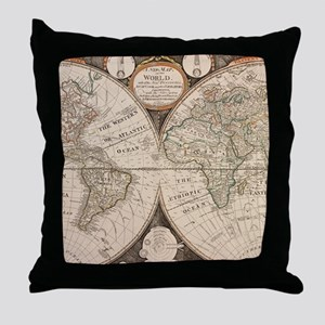 Vintage Map of The World (1799) 5 Throw Pillow