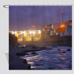 Ribeira Grande at night Shower Curtain