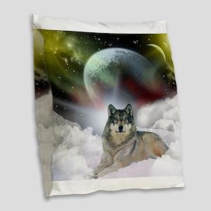 Wolf Cloud Burlap Throw Pillow