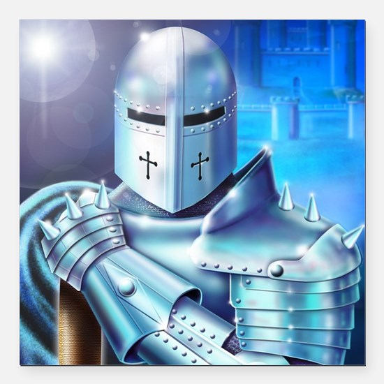 """Blue Knight Square Car Magnet 3"""" x 3"""""""