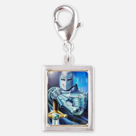 Blue Knight Silver Portrait Charm