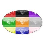 Colourful House Oval Sticker