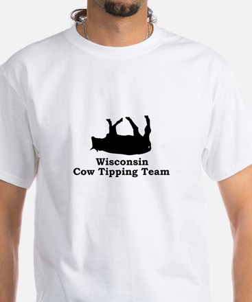 Wisconsin Cow Tipping White T-Shirt
