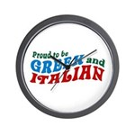 Proud Greek and Italian Wall Clock
