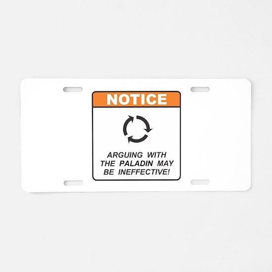 Paladin / Argue Aluminum License Plate