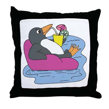Penguin on Vacation Throw Pillow