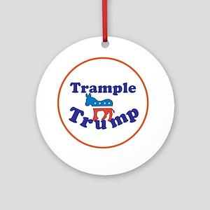 Trample Trump, Anti Trump Round Ornament