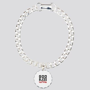 God Bless Latvia Charm Bracelet, One Charm