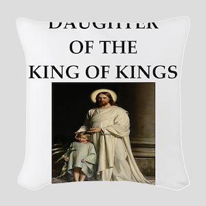 king of kings Woven Throw Pillow