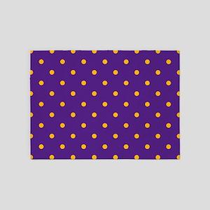 Polka Dots: Gold on Purple 5'x7'Area Rug