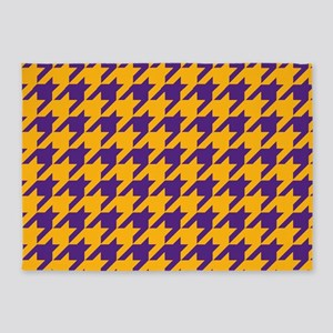 Houndstooth Checkered: Purple & Gol 5'x7'Area Rug