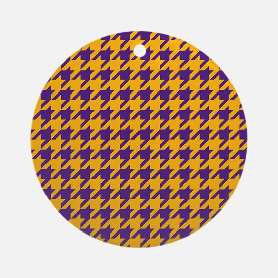 Houndstooth Checkered: Purple & Gol Round Ornament