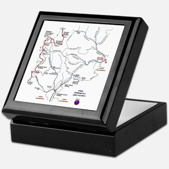 Old Rag Mountain trail map Keepsake Box